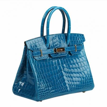 Genuine Alligator Leather Handbag-Blue-Side