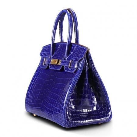 Genuine Alligator Leather Handbag-Royal Blue-Side