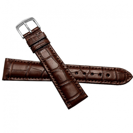 Genuine Alligator Leather Watch Strap, Classic Alligator Apple Watch Strap-Brown-Front