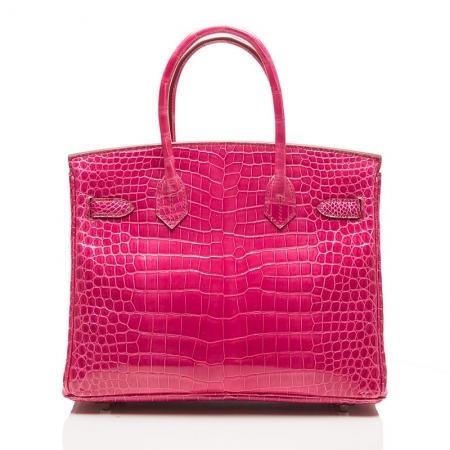 Genuine Alligator Skin Handbag-Rose-Back