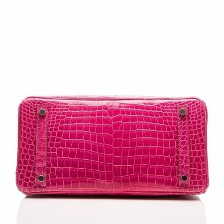 Genuine Alligator Skin Handbag-Rose-Bottom
