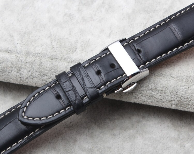 Genuine Alligator Watch Strap With Butterfly Buckle, Alligator Apple Watch Band-Back