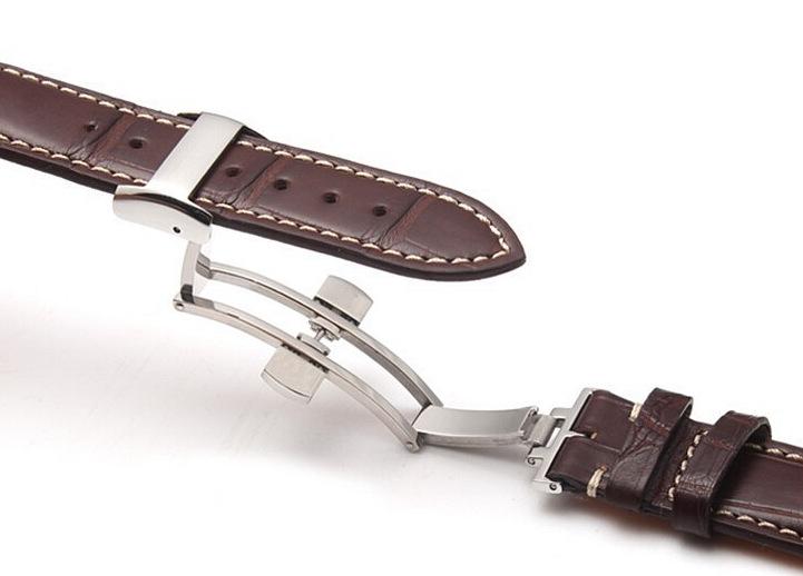 Genuine Alligator Watch Strap With Butterfly Buckle, Alligator Apple Watch Band-Brown Details