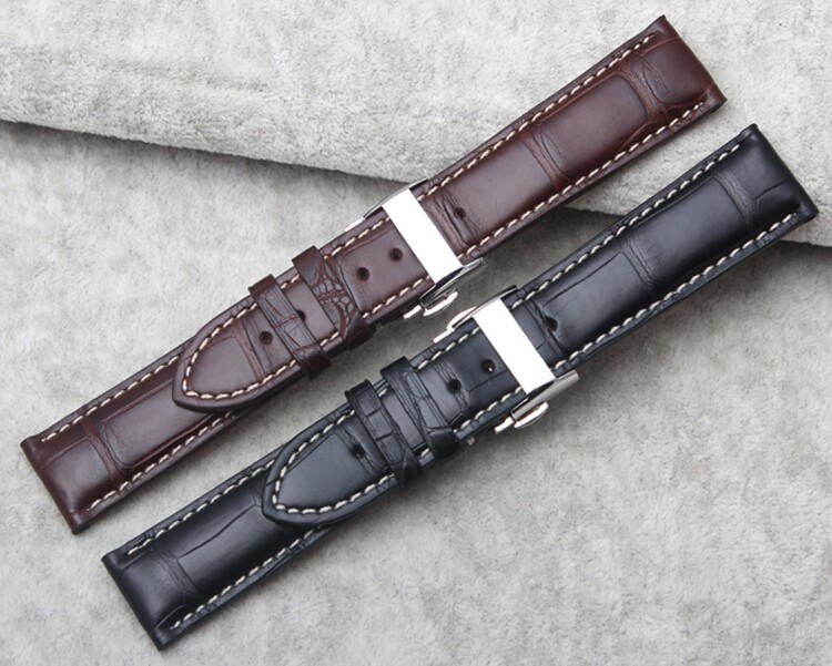 Genuine Alligator Watch Strap With Butterfly Buckle, Alligator Apple Watch Band-Front