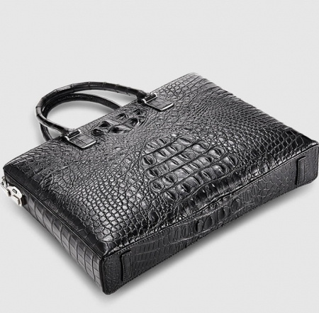 Genuine Back Crocodile Bag,Crocodile Business Bag for Men-Bottom