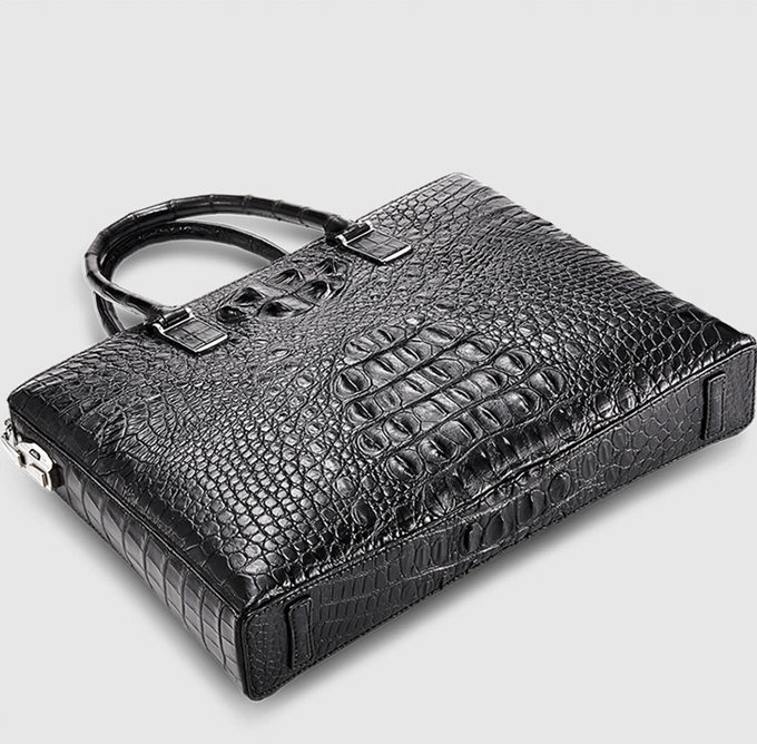 Genuine Back Crocodile Bag,Crocodile Business Bag for Men-Bottom