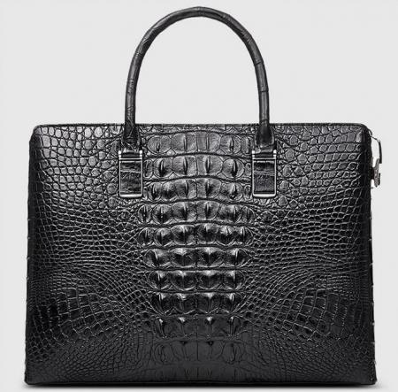 Genuine Back Crocodile Briefcase,Crocodile Business Bag for Men-Back