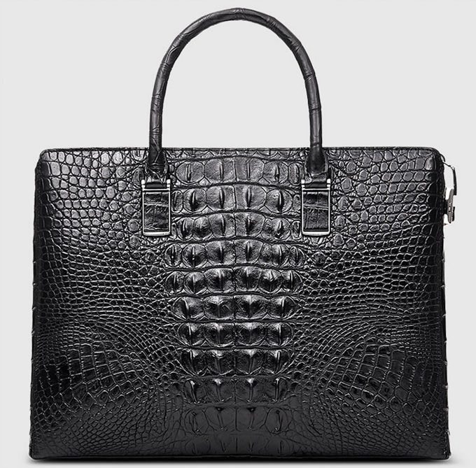 Genuine Back Crocodile Briefcase,Crocodile Business Bag for Men-Back