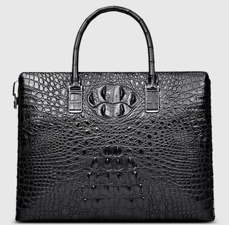 Genuine Back Crocodile Briefcase,Crocodile Business Bag for Men-Front