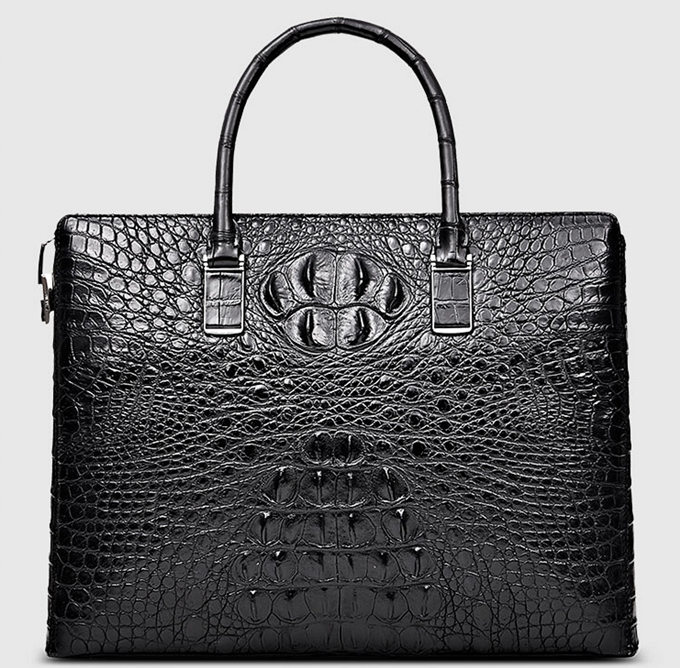 Genuine Back Crocodile Briefcase,Crocodile Business Bag for Men-Front