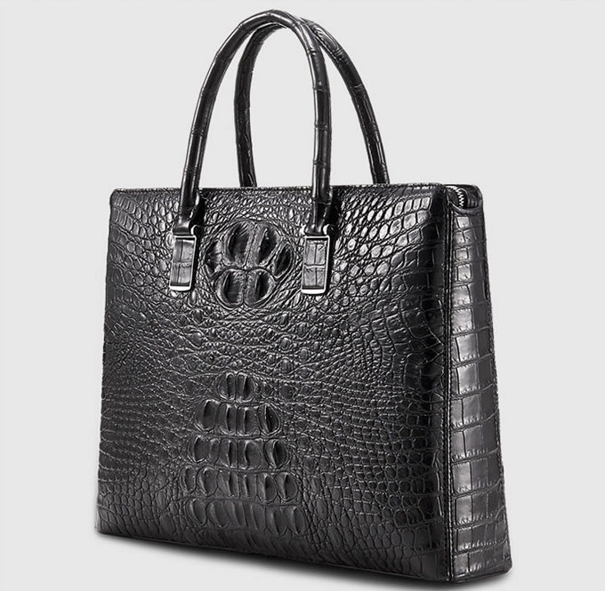 Genuine Back Crocodile Briefcase,Crocodile Business Bag for Men-Left