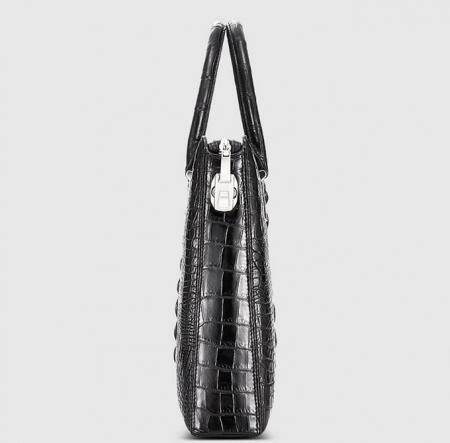 Genuine Back Crocodile Briefcase,Crocodile Business Bag for Men-Side