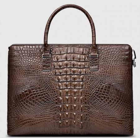 Genuine Brown Crocodile Briefcase,Crocodile Business Bag for Men-Back