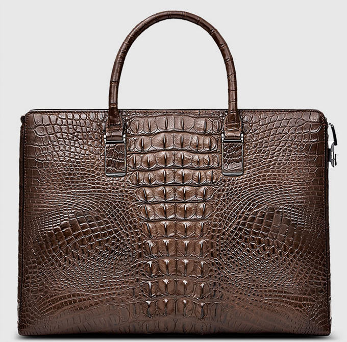 Genuine Brown Crocodile Briefcase,Crocodile Business Bag for Men-Back