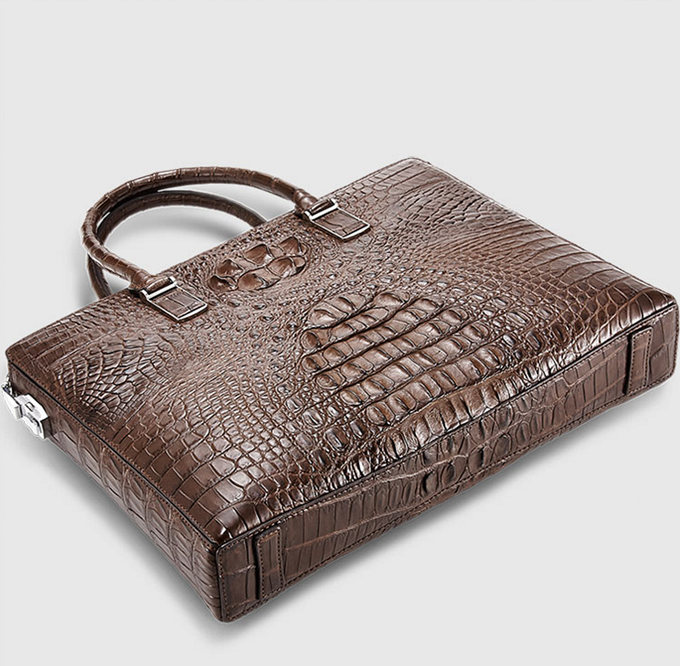 Genuine Brown Crocodile Briefcase,Crocodile Business Bag for Men-Bottom