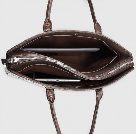 Genuine Brown Crocodile Briefcase,Crocodile Business Bag for Men-Inside