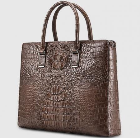 Genuine Brown Crocodile Briefcase,Crocodile Business Bag for Men-Left