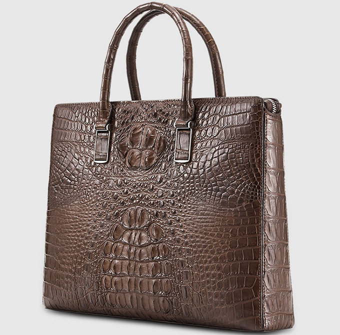 Genuine Brown Crocodile Briefcase,Crocodile Business Bag for Men-Left