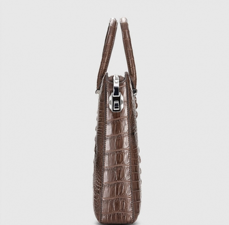 Genuine Brown Crocodile Briefcase,Crocodile Business Bag for Men-Side