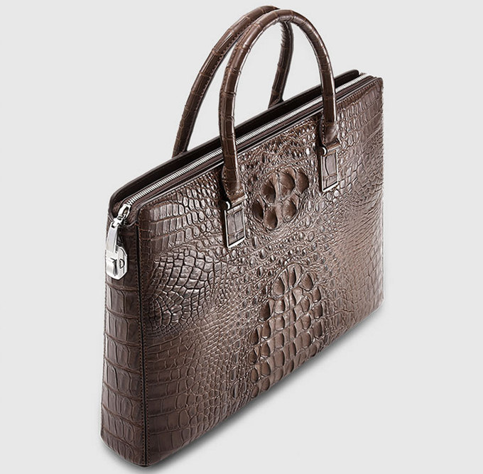 Genuine Brown Crocodile Briefcase,Crocodile Business Bag for Men-Top
