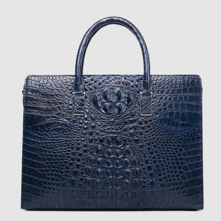 Genuine Crocodile Briefcase, Crocodile Business Bag for Men-Blue