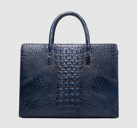 Genuine Crocodile Briefcase, Crocodile Business Bag for Men-Blue-Back