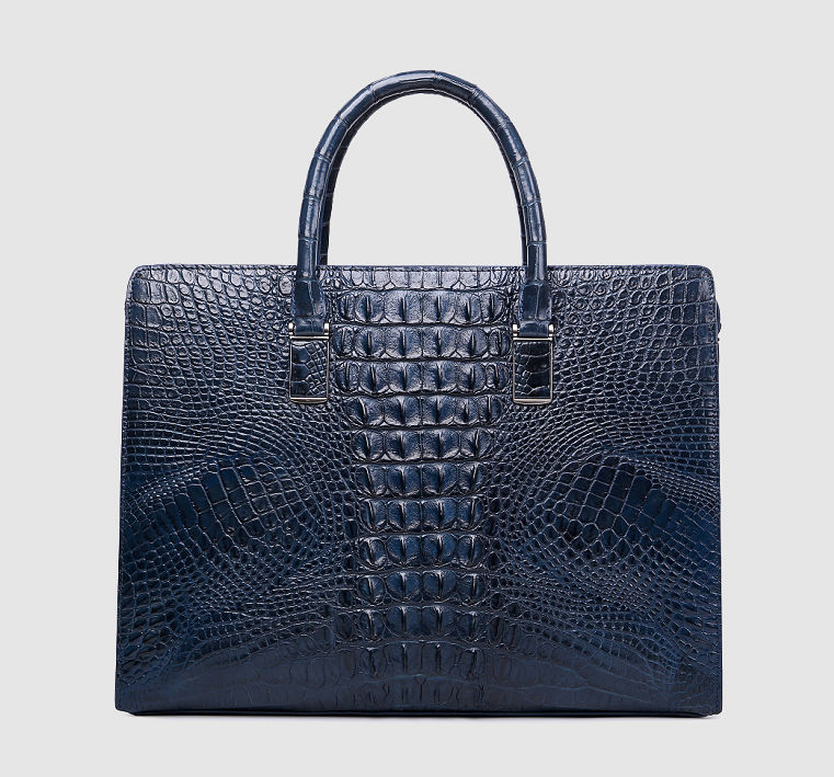 Genuine Crocodile Briefcase, Crocodile Business Bag for Men-Blue-Back