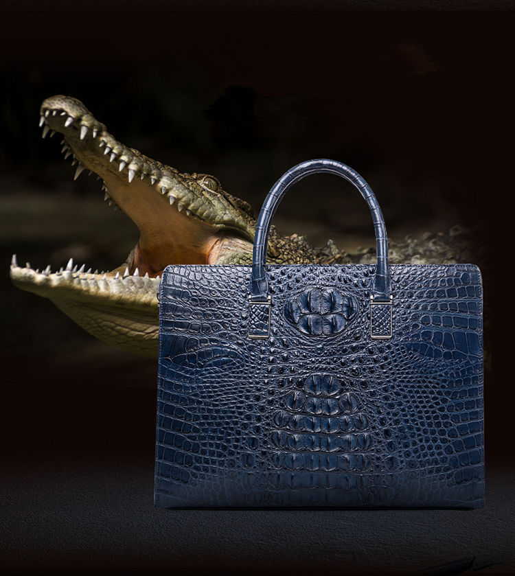 Genuine Crocodile Briefcase, Crocodile Business Bag for Men-Blue-Exhibition