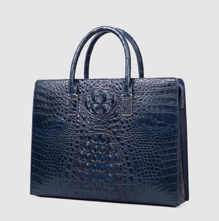 Genuine Crocodile Briefcase, Crocodile Business Bag for Men-Blue-Left