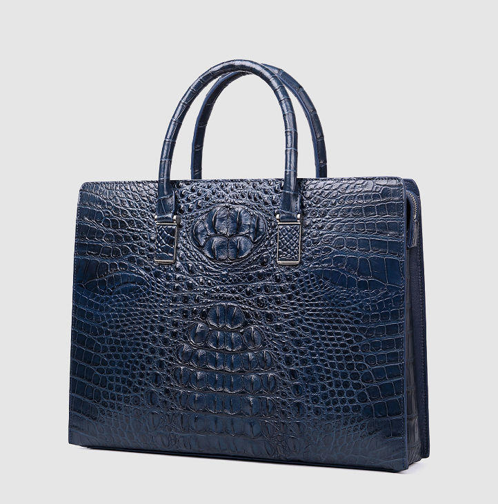 Genuine Crocodile Briefcase, Crocodile Business Bag for Men-Blue-Left