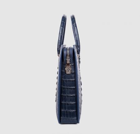 Genuine Crocodile Briefcase, Crocodile Business Bag for Men-Blue-Side