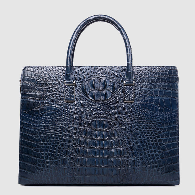 Genuine Crocodile Briefcase, Crocodile Business Bag for Men-Blue
