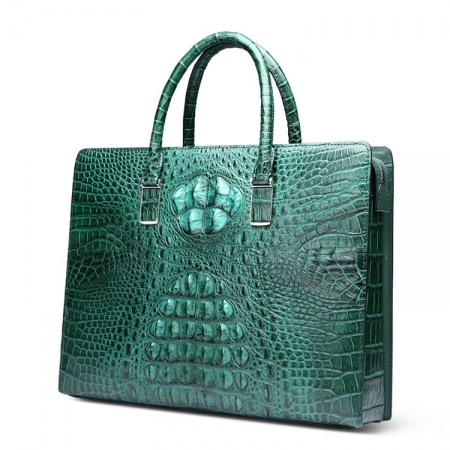 Genuine Crocodile Briefcase, Crocodile Business Bag for Men-Green