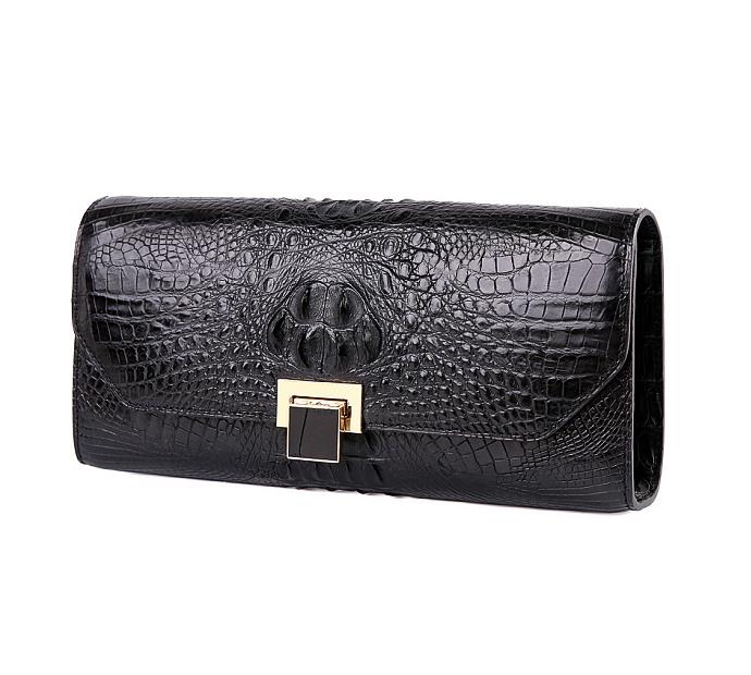 Genuine Crocodile Purse, Crocodile Clutch Bag-Black