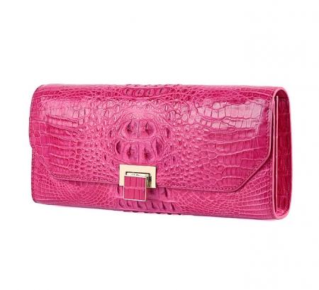 Genuine Crocodile Purse, Crocodile Clutch Bag-Pink