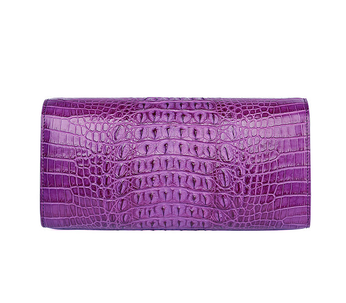 Genuine Crocodile Purse, Crocodile Clutch Bag-Purple-Back