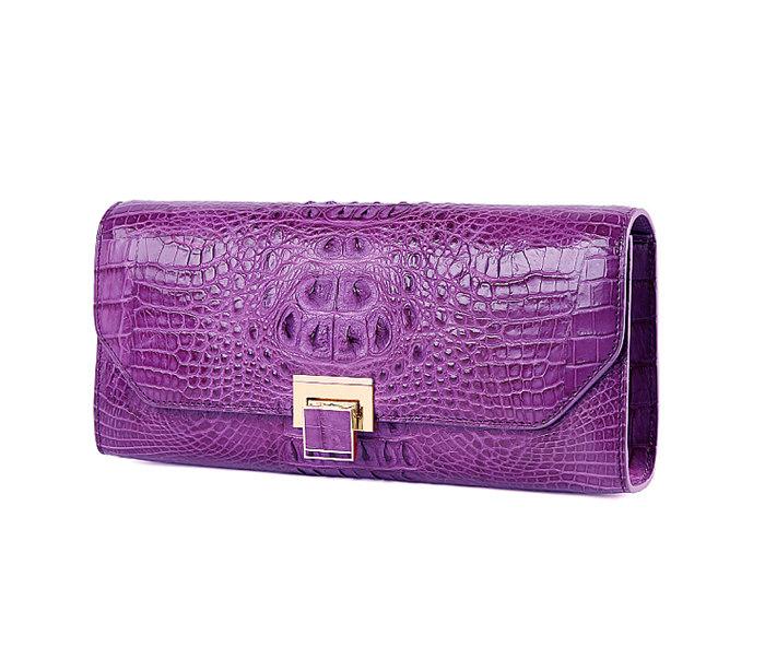 Genuine Crocodile Purse, Crocodile Clutch Bag-Purple