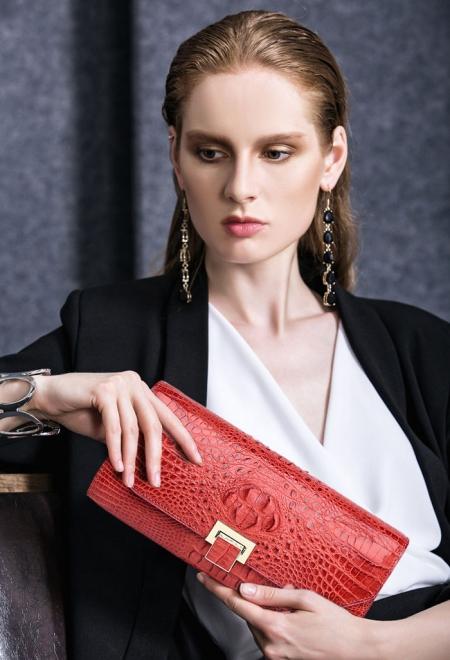 Genuine Crocodile Purse, Crocodile Clutch Bag-Red-Exhibition