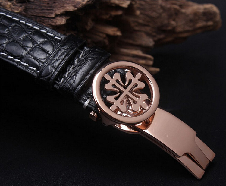 Handmade Genuine Alligator Leather Watch Band-Black-Buckle