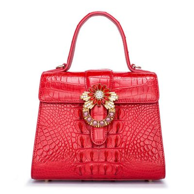 Ladies Fashion Crocodile Top-Handle Handbag Purse Crossbody Bag