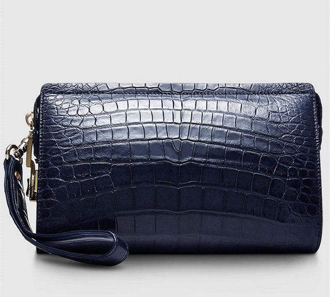 Large Genuine Alligator Wallet-Blue-Back