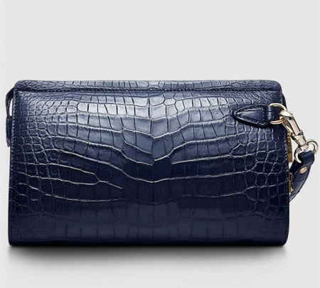 Large Genuine Alligator Wallet-Blue-Front