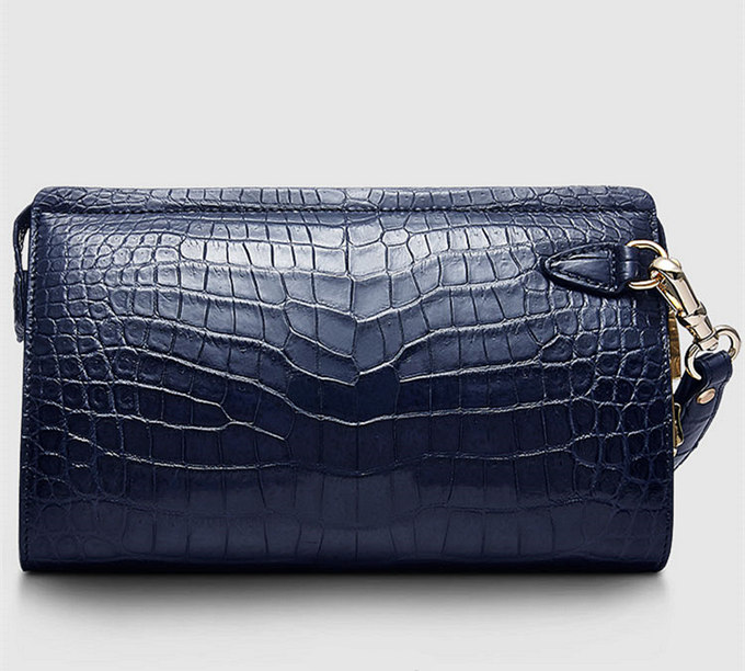 Large Genuine Alligator Wallet-Blue-Front
