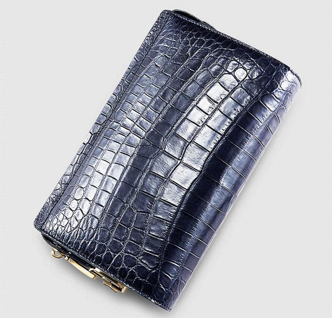 Large Genuine Alligator Wallet-Blue