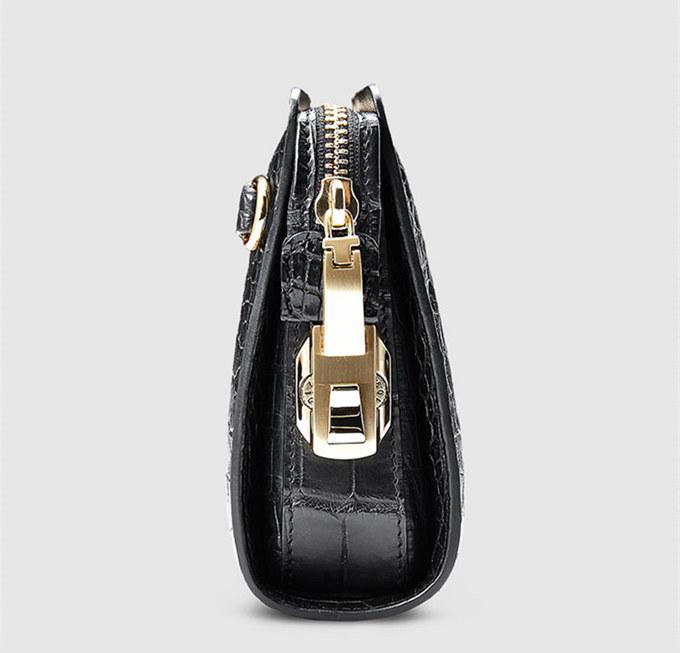 Large Genuine Alligator Wallet-Zipper Lock