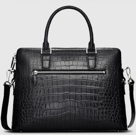 Luxury Alligator Briefcase, Luxury Alligator Laptop Bag for Men-Black-Back
