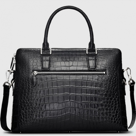 Luxury Alligator Briefcase, Luxury Alligator Laptop Bag for Men-Black-Back