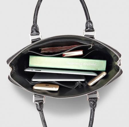 Luxury Alligator Briefcase, Luxury Alligator Laptop Bag for Men-Black-Inside