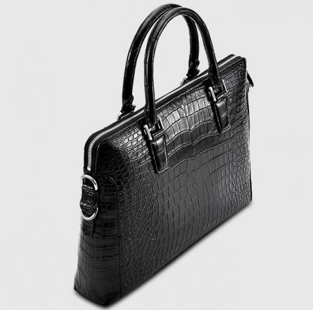 Luxury Alligator Briefcase, Luxury Alligator Laptop Bag for Men-Black-Left