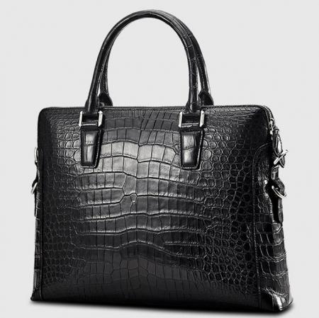 Luxury Alligator Briefcase, Luxury Alligator Laptop Bag for Men-Black-Right